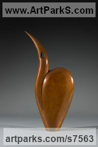 Bronze Animal Abstract Contemporary Modern Stylised Minimalist sculpture by Simon Gudgeon titled: 'Hornbill (Bronze Stylised Modern abstract statues)'