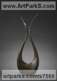 Bronze Minimalist Understated Abstract Contemporary Sculpture statuary statuettes sculpture by Simon Gudgeon titled: 'Lyrebird 3 (Large Contemporary Displaying sculpture)'