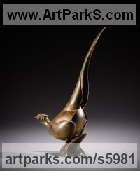 Bronze Wild Bird sculpture by Simon Gudgeon titled: 'Pheasant2 (Bronze Small/Little Game Cockbird statuette)'