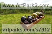 Bronze Fruit sculpture by Simon Gudgeon titled: 'Plums (Big Bronze garden or Yard Outdoor sculptures)'