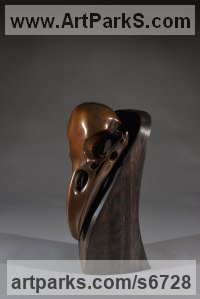Bronze Wild Bird sculpture by Simon Gudgeon titled: 'Raven on Plinth (Bronze Bird`s` Head/Skull/Trophy statue)'