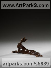 Bronze Miniature Sculptures, statuettes or figurines sculpture by Simon Gudgeon titled: 'Reclining Hare - The Collection (Bronze Hare statuette)'