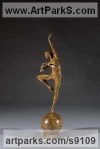 Bronze Happiness / Joy / Exuberance / Wild Pleasure sculpture by Simon Gudgeon titled: 'Retir� (Little female Ballet Dancer statue statuette)'
