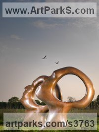 Bronze Human Form: Abstract sculpture by Simon Gudgeon titled: 'Search for Enlightenment (Outsize Human Heads statue)'