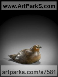 Bronze Wild Bird sculpture by Simon Gudgeon titled: 'Sitting Partridge (life size Bronze Bird sculpture)'
