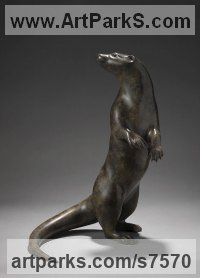 Bronze Badger, Otter, Beaver, Weasel, Stoat, Pine Martin, Wombat sculpture by Simon Gudgeon titled: 'Standing Otter (Bronze life size Alert Upright statue sculpture)'