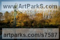 Bronze Human Form: Abstract sculpture by Simon Gudgeon titled: 'Sylph (Bronze Fragmented Nymphs garden sculptures)'