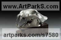 Aluminium Cats Wild and Big Cats sculpture by Simon Gudgeon titled: 'Tiger (aluminium Metal Head/Skull sculpture statue)'