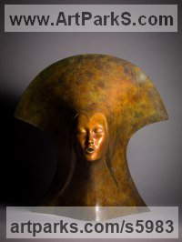 Bronze Busts and Heads Sculptures Statues statuettes Commissions Bespoke Custom Portrait Memorial Commemorative sculpture or statue sculpture by Simon Gudgeon titled: 'Whispering Spirit (bronze Bust/Head Venetian female statue/sculpture)'