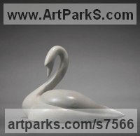 Bronze Animal Abstract Contemporary Modern Stylised Minimalist sculpture by Simon Gudgeon titled: 'White Swan (Bronze life size sculpture)'
