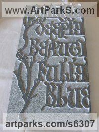 Stone Celtic Knot Work and Traditional sculpture by Simon Keeley titled: 'Darkly Deeply (Carved Bas Relief Medieval Lettering/Poem Panel)'