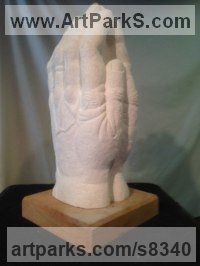 Portland Limestone Religious sculpture by Simon Keeley titled: 'Praying Hands (Big Carved Stone statues sculptures)'