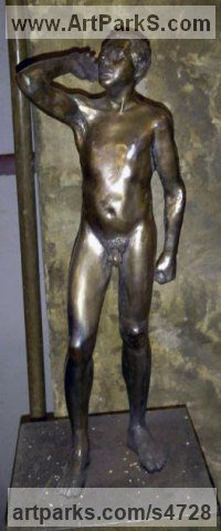 Bronze Nudes / Male sculpture by Simon Mahoney titled: 'Modern nude (Small/Little bronze Naked Man statues)'