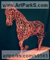 Copper wire Wire(Mesh Netting Chicken) Metal Rod or Bar or Tube sculpture by Simone Wojciechowski titled: 'Beautiful Copper Horse (Trotting Horse statue)'