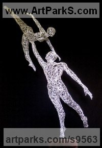 Galvanised steel wire Abstract Dance / Dancer sculpture by Simone Wojciechowski titled: 'Dancer Couple (Pas de Deux Ballet sculpture)'