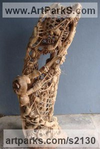 Camphor Wood Classical Oriental sculpture by SM Chen titled: '2 Layer Carving (Basket with Lobster and Crabs sculpture/statue)'