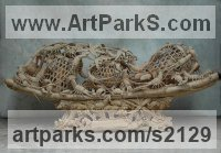 Classical Oriental Sculpture by sculptor artist SM Chen titled: 'Abundant Harvest (Copious Catch Lobster Boat Carving sculptures statue)' in Camphor wood