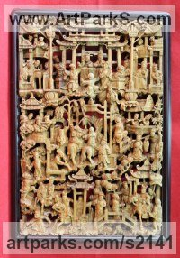 Classical Oriental Sculpture by sculptor artist SM Chen titled: 'Cheer (Rectangular Intricate Carved Wood figurative Wall panel Carving)' in Camphor wood
