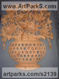 Camphor Wood Classical Oriental sculpture by SM Chen titled: 'Flower Vase Panel (Big Carved Wood Chinese Wall sculptures)'