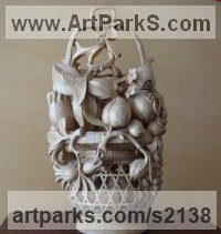 Camphor Wood Classical Oriental sculpture by SM Chen titled: 'Fruit in a Basket (Chinese Carved Wall Fruit Basket statue)'