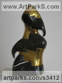 Bronze, black marble Abstract Modern Contemporary Avant Garde Sculptures Statues statuettes figurines statuary both Indoor Or outside sculpture by Snejana Simeonova titled: 'Composition (Carved Black and Gold coloured abstract Modern statue)'