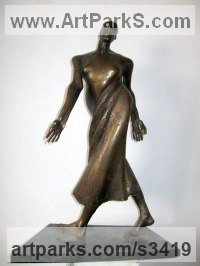 Brass Stylized People sculpture by Snejana Simeonova titled: 'Dance (abstract Swirling Indoor Dancer sculpture)'