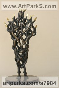Bronze Abstract Modern Contemporary Avant Garde Sculptures Statues statuettes figurines statuary both Indoor Or outside sculpture by Snejana Simeonova titled: 'Magic Tree (abstract Modern Stylised bronze Burning Bush statue statue)'