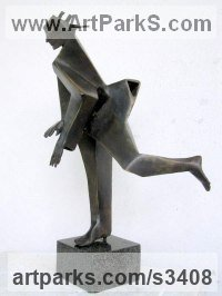 Bronze Abstract Modern Contemporary Avant Garde Sculptures Statues statuettes figurines statuary both Indoor Or outside sculpture by Snejana Simeonova titled: 'Running Figure (abstract bronze Cloaked Man statue sculpture statuette)'