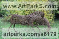 Willow Woven Willow Animal and Figurative Sculptures or Statues and Art sculpture by Sophie Courtiour titled: 'Playing Horses (Willow Prancing Horses statues)'