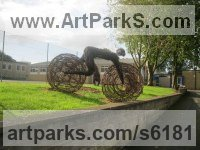 Willow Willow, Bark and mosssculpture / statue / statuette sculpture by Sophie Courtiour titled: 'The Human Bicycle (Willow Yard statue/sculptures)'