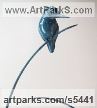 Bronze Varietal Mix of Bird Sculptures or Statues sculpture by Sophie-Louise White titled: 'Kingfisher on Reed (Perched bronze Blue life size statue/statuette)'