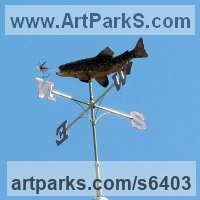 Copper and Brass Sculptures of Sport by Stanley Jankowski titled: 'Brown Trout Weathervane (Personalised Commission Weather Cock)'