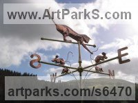Copper and Brass Wind Vanes and Weather Vanes and Weather Cocks sculpture by sculptor Stanley Jankowski titled: 'Cat and Mouse (Copper Weathervane Weather Cock Wind Vane)'