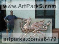 Copper Dragons sculpture by sculptor Stanley Jankowski titled: 'Welsh Dragon (Wall Plaque High Relief Wall hung sculpture)'