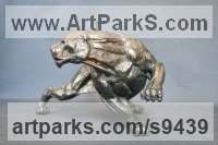 Bronze Cats Wild and Big Cats sculpture by Stephane Deguilhen titled: 'Black Panther (stylised Prowling Big Cat statue)'