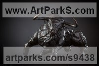 Bronze Small Animal sculpture by Stephane Deguilhen titled: 'Bull Fighting (Small Charging Indoor sxculpture)'