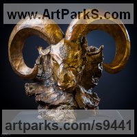 Bronze Sheep, Goats Ewes, Rams, Tups, Lambs, Wether, Sculptures or Statues sculpture by Stephane Deguilhen titled: 'Head of Mouflon (Carved Ram Cast Bronze statue)'