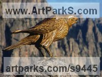 Bronze Wild Bird sculpture by Stephane Deguilhen titled: 'The Hawk (Perched Bronze Bird of Prey statues)'