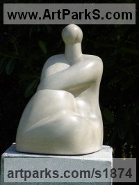 Spiritual sculpture by sculptor artist Stephanie Davies-Arai titled: 'Decorative Figure (stone Carving after Matisse Indoor and Outside statue)' in Portland stone