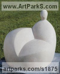 Birds Abstract Contemporary Stylised l Minimalist Sculpture / Statues by sculptor artist Stephanie Davies-Arai titled: 'Sitting Figure I (Modern abstract after Moore sculpture/statue statuary)' in Portland stone