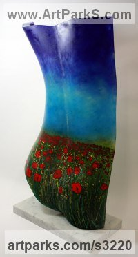 Polychrome Sculpture by sculptor artist Stephen Beardsell titled: 'female Form, Back, Poppy Field, (Glass sculptures/statues for sale)' in Glass