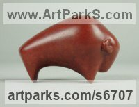 Bronze Small Animal sculpture by Stephen Page titled: 'Bison (Bronze Minimalist Small Contemporary statuette)'