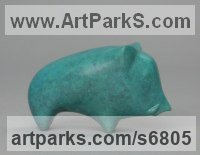 Bronze Pigs, Sows, Boars, Hogs, Piglets Sounders Sculptures or Statues sculpture by Stephen Page titled: 'Boar (Blue Little Small Pig abstract statuettes)'