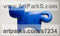 Bronze Cats sculpture by Stephen Page titled: 'C@ II (Bronze Minimalist Contemporary Cat statuette)'