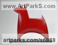 Bronze Animal Abstract Contemporary Modern Stylised Minimalist sculpture by Stephen Page titled: 'Dogstar (Little Bronze Standing Minimalist Dog statue)'