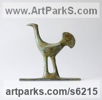 Bronze Small bird sculpture by Stephen Page titled: 'Earlybird (abstract Contemporary Little Bird sculpture)'