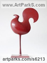 Bronze Small bird sculpture by Stephen Page titled: 'Heliolater (Small Cock abstract Contemporary statuettes)'
