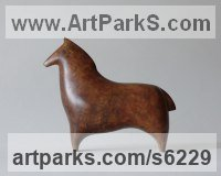 Bronze Horse Sculpture / Equines Race Horses Pack HorseCart Horses Plough Horsess sculpture by Stephen Page titled: 'Oss I (Minimalist abstract Bronze Horse statuettes)'