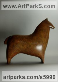 Bronze Animal Abstract Contemporary Modern Stylised Minimalist sculpture by Stephen Page titled: 'Oss II (Minimalist abstract Horse statues/figurines)'