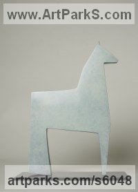 Cast Bronze Animal Abstract Contemporary Modern Stylised Minimalist sculpture by Stephen Page titled: 'White Horse (Minimalist Small Contemporary statuette)'